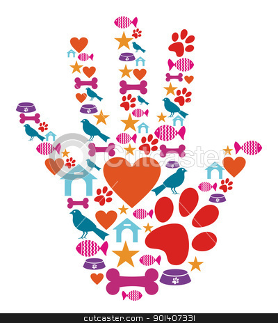 Pet animal protective hand icon set stock vector clipart, Human hand shape with animal pet protection icons set. by Cienpies Design