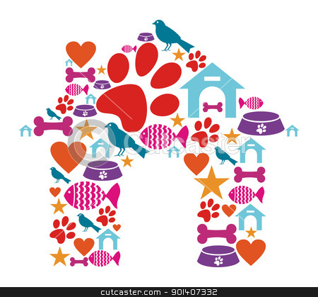 Pet kennel shape made with icon set stock vector clipart, Dog house shape made with animal care icons set. by Cienpies Design