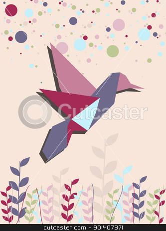 Single Origami hummingbird in pink stock vector clipart, One Origami hummingbird in pink colors portrait composition background. Vector file available. by Cienpies Design