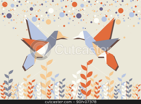 Origami hummingbird couple over beige stock vector clipart, Couple of Origami hummingbird in pastel tones background. Vector file available. by Cienpies Design