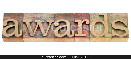 awards word in letterpress type stock photo, awards  - isolated word in vintage wood letterpress type by Marek Uliasz