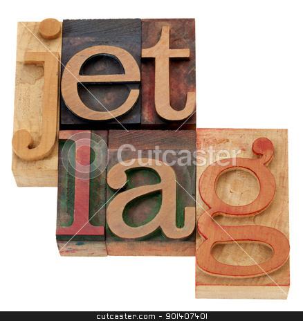 jet lag n letterpress type stock photo, jet lag - isolated words in vintage wood letterpress printing blocks by Marek Uliasz