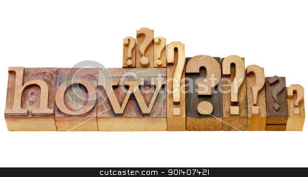 how question in lettepress type stock photo, how question - isolated vintage wood letterpress printing blocks with multiple question marks by Marek Uliasz
