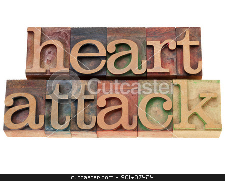 heart attack text in letterpress type stock photo, heart attack - isolated words in vintage wood letterpress printing blocks by Marek Uliasz