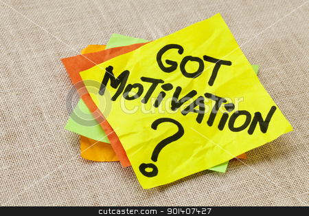 Got motivation question stock photo, Motivational concept - got motivation question - handwriting on a yellow sticky note against canvas board by Marek Uliasz