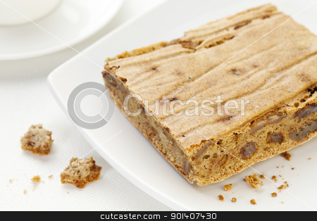 home made gluten free bread stock photo, a piece and crumbs of home made gluten free bread using coconut, millet and brown rice flours, rice and outs bran, walnuts and raisins - white plate and tablecloth by Marek Uliasz