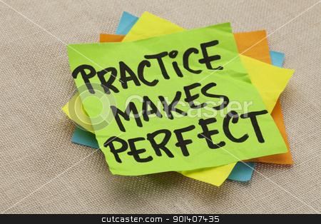 practice makes perfect stock photo, practice makes perfect - a motivational slogan on a green stocky note by Marek Uliasz