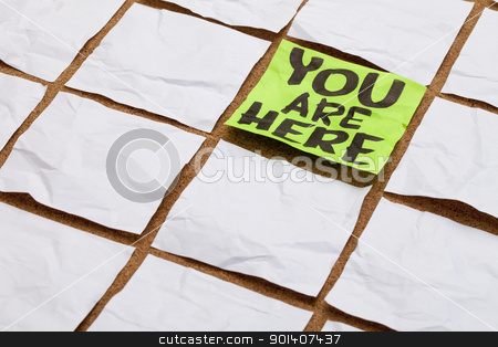 you are here stock photo, you are here concept - handwriting on a green sticky note surrounded by blank white ones by Marek Uliasz