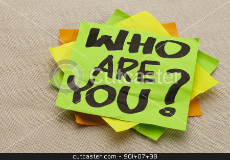 Who are you question stock photo, Who are you question - handwriting on a green sticky note by Marek Uliasz