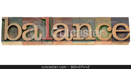 balance word in letterpress type stock photo, balance - isolated word in vintage wood letterpress printing blocks by Marek Uliasz