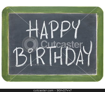 happy birthday on blackboard stock photo, happy birthday congratulations - white chalk handwriting on a small slate blackboard by Marek Uliasz