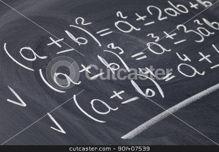 mathematical equations on blackboard stock photo, mathematical education concept - algebra equations handwritten with white chalk on blackboard by Marek Uliasz