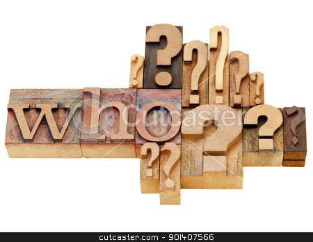 who question abstract stock photo, who question with multiple question marks - isolated vintage wood letterpress printing blocks by Marek Uliasz
