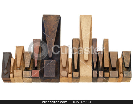 exclamation point symbols stock photo, warning or alert  concept - a row of exclamation points - vintage wood letterpress printing blocks by Marek Uliasz