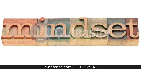 mindset stock photo, mindset  - isolated word in vintage wood letterpress printing blocks by Marek Uliasz
