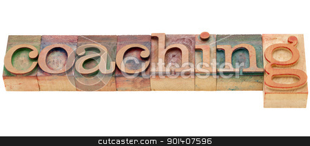 coaching word stock photo, coaching  - isolated word in vintage wood letterpress printing blocks by Marek Uliasz