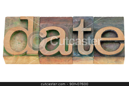 date word in letterpress type stock photo, date - isolated word in vintage wood letterpress printing blocks by Marek Uliasz