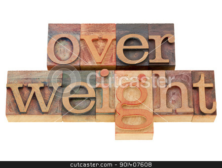 overweight word in letterpress type stock photo, overweight - health problem - isolated word in vintage wood letterpress printing blocks by Marek Uliasz