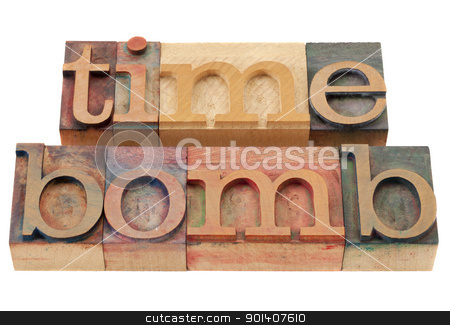 time bomb  stock photo, time bomb - isolated words in vintage wood letterpress printing blocks by Marek Uliasz