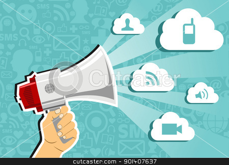 Cloud computing marketing concept. stock vector clipart, Hand holding a megaphone throwing clouds of communication on blue background with social media icons.  Vector file available. by Cienpies Design