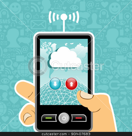 Cloud computing concept application stock vector clipart, Hand holding a cell phone with cloud of communication on blue background with social media icons. Vector file available. by Cienpies Design