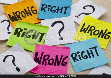 wrong or right ethical question stock photo, wrong or right dilemma or ethical question - handwriting on colorful sticky notes by Marek Uliasz