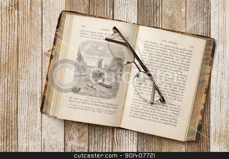 antique book on a grunge table stock photo, antique illustrated book with reading glasses on grunge white painted wood table, Rob Roy in the Baltic by J. MacGregor published in 1867, out of copyrights by Marek Uliasz