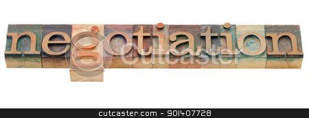 negotiation word stock photo, negotiation - isolated word in vintage wood letterpress printing blocks by Marek Uliasz