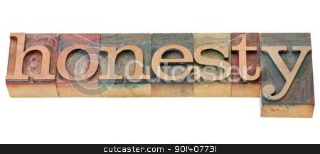 honesty word stock photo, honesty - isolated word in vintage wood letterpress printing blocks by Marek Uliasz