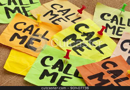 call me request stock photo, call me - several sticky notes on cork bulletin board with a reminder by Marek Uliasz
