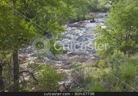 whitewater rafters  stock photo, FORT COLLINS, COLORADO, USA - JUNE 4, 2011: White water rafters and kayakers approaching Maddog Rapid on Cache la Poudre River west of Fort Collins, Colorado as the snow pack in the high country begins to melt. Fort Collins, Colorado, June 4, 2011. by Marek Uliasz