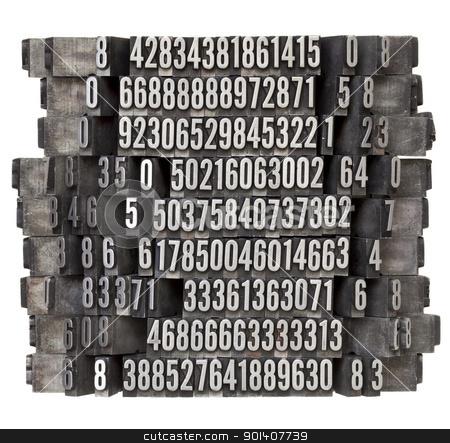 random numbers in letterpress type stock photo, random numbers in vintage grunge metal letterpress printing blocks, isolated on white by Marek Uliasz
