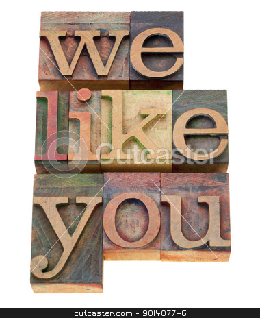 we like you stock photo, we like you - service concept - isolated text in vintage wood letterpress printing blocks by Marek Uliasz