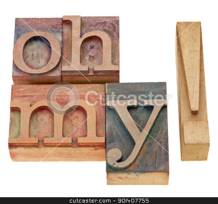Oh my exclamation stock photo, Oh my exclamation - isolated text in vintage wood letterpress printing blocks by Marek Uliasz
