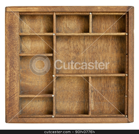 small vintage wood  case  stock photo, small vintage wood  case (typesetter drawer)  with  dividers, isolated on white by Marek Uliasz