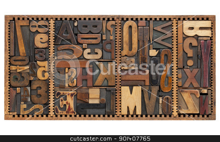 vintage letters, numbers and punctuation signs stock photo, vintage letterpress printing blocks abstract with variety of  letters, numbers, punctuation signs in old box by Marek Uliasz