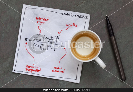 loan payment equation stock photo, loan payment equation sketched on a white cocktail napkin with empty coffee cup on a slate stone table by Marek Uliasz