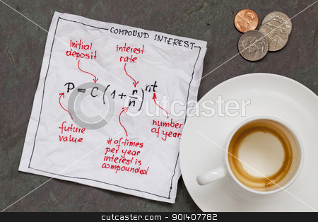 compund interest concept stock photo, compound interest equation on a cocktail napkin with empty coffee cup and coins on a slate stone table by Marek Uliasz