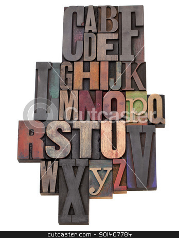 English alphabet abstract stock photo, English alphabet abstract  in antique wood letterpress printing blocks of different size and style, isolated on white by Marek Uliasz