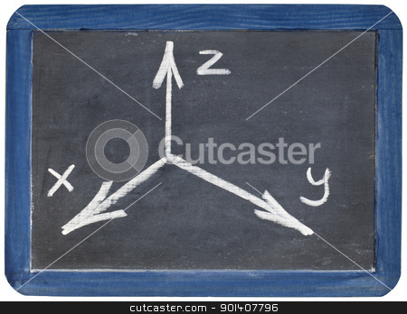 Cartesian coordinates xyz on blackboard stock photo, Cartesian coordinate system sketched with white chalk on a small isolated slate blackboard by Marek Uliasz