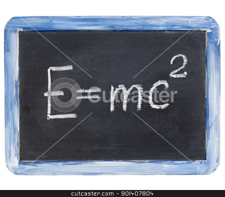 Einstein equation stock photo, physics education concept - Einstein equation on a small slate blackboard by Marek Uliasz