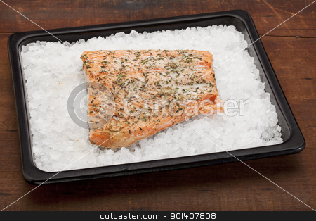 salmon baked on rock salt stock photo, fillet of Norwegian salmon seasoned with lemon juice and thyme, freshly baked on rock salt by Marek Uliasz