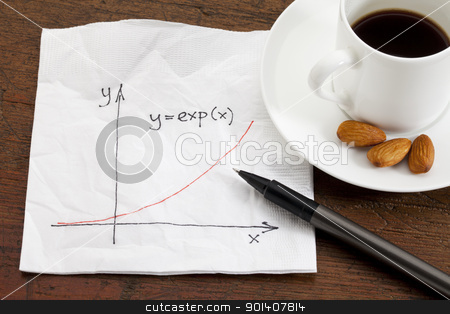 exponential growth on napkin stock photo, exponential growth curve sketched on a cocktail napkin with coffee cup and snack on wood table by Marek Uliasz