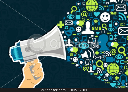 Social media Marketing stock vector clipart, Hand holding a megaphone throwing social media icons on blue background.  Vector file available. by Cienpies Design
