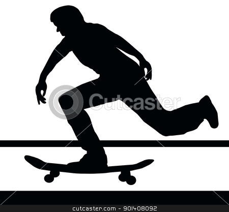 Skateboarding Building Up Speed stock vector clipart, Skateboarding Skater Building Up Speed on Skateboard by Snap2Art