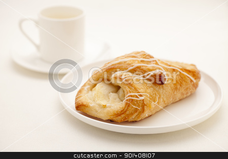 apple croissant pastry stock photo, apple croissant pastry on white plate with a cup of espresso coffee in background by Marek Uliasz