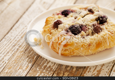 cherry cheese danish pastry stock photo, cherry cheese danish pastry on white plate against grunge wood table by Marek Uliasz