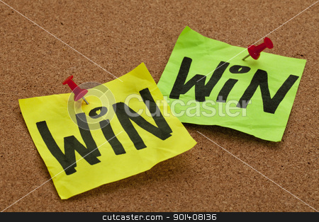 win-win strategy concept stock photo, win-win strategy concept - handwriting on sticky notes posted on bulletin board by Marek Uliasz