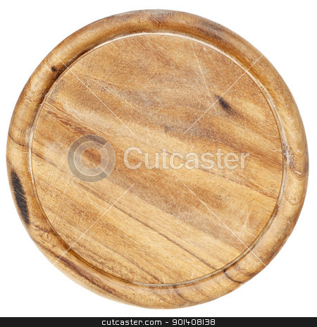 old cutting board stock photo, old wood  round cutting board with scratches and texture, isolated on white by Marek Uliasz