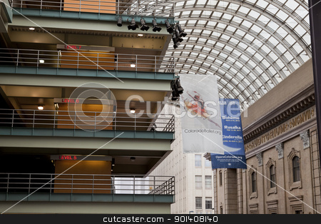 The Denver Center for Performing Arts stock photo, DENVER, USA, April 3, 2011. The Denver Center for Performing Arts - a covered public passge with a parling garage and advertising banners for Colorado Ballet and Opera. Denver, Colorado, April 3, 2011. by Marek Uliasz
